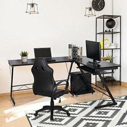 TANGKULA L Shaped Desk Corner Desk Home