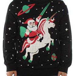 Tipsy Elves Men's Santa Unicorn Christmas Sweater Large