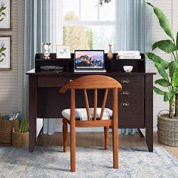Tangkula Computer Desk Home Office Wood Frame