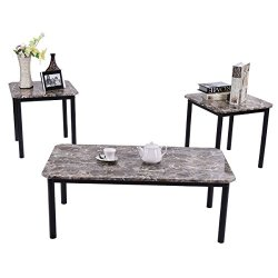 3 Piece Marble-Look Top Coffee and Ende Table Set