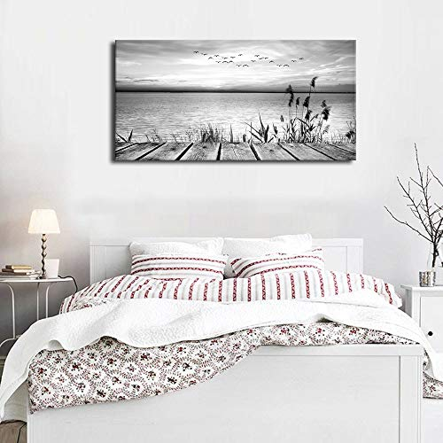 Canvas Wall Art Peaceful Lake Side Sunset Black and White