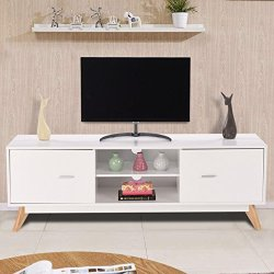 Tangkula Modern TV Stand Wood Storage Console Entertainment