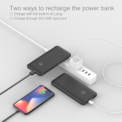 10000mAh Q Slim Power Bank Portable Charger 10000mAh Q Slim Power Bank Portable Charger External Battery Pack Charger 10000mah with Built-in Micro USB Tpye C Three Kinds Cable AC Wall Plug for Different mobilephone Black.