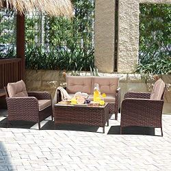 Outdoor Rattan Wicker Sofa Comfortable Cushioned Seat