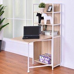 Tangkula Convertible Desk Wood Folding Cabinet