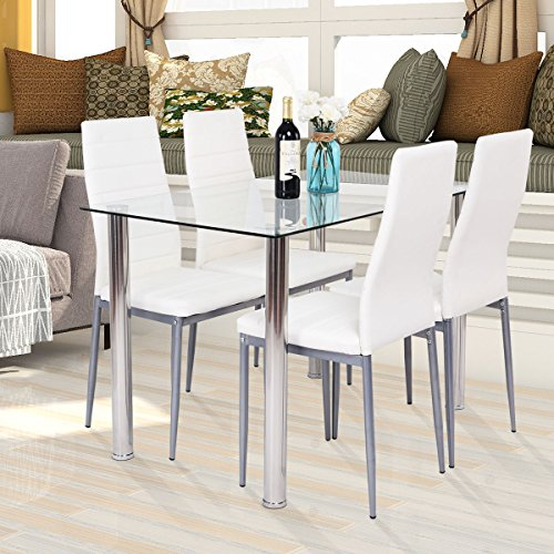 Dining Table Set 5 PCS Modern Tempered Glass