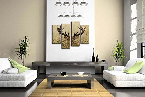 4 Panel Wall Art Deer Stag With Long Antler In The Bushes