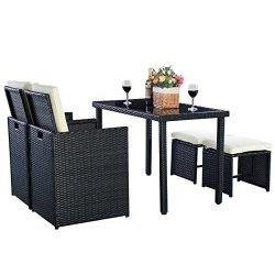 Tangkula Patio Furniture Outdoor Wicker Rattan Dining Set