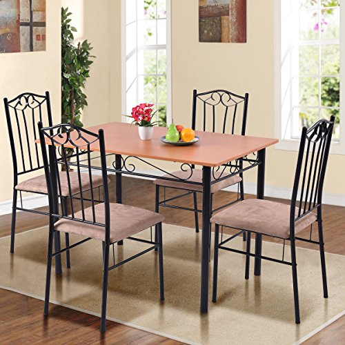 Tangkula 5 Piece Dining Table Set Vintage Wood Top