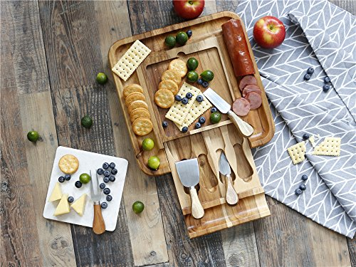 Jalz-Jalz Cheese Board Set With Cutlery, Marble panel Wood