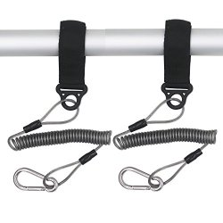 YYST Two Deluxe Coiled Kayak Paddle Leash Kayak Rod