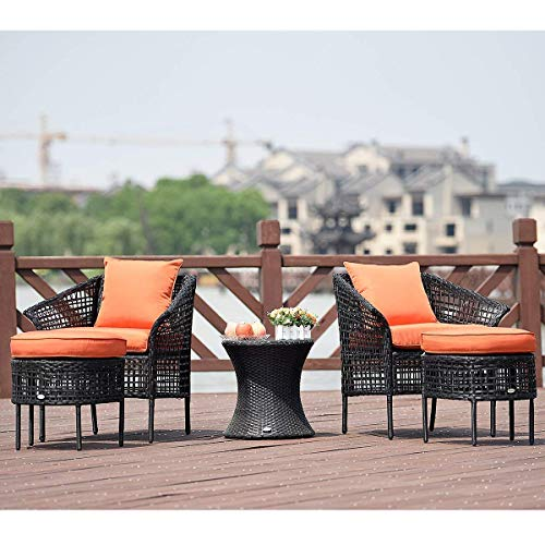 Tangkula 5 PCS Patio Rattan Sofa Ottoman Furniture Set