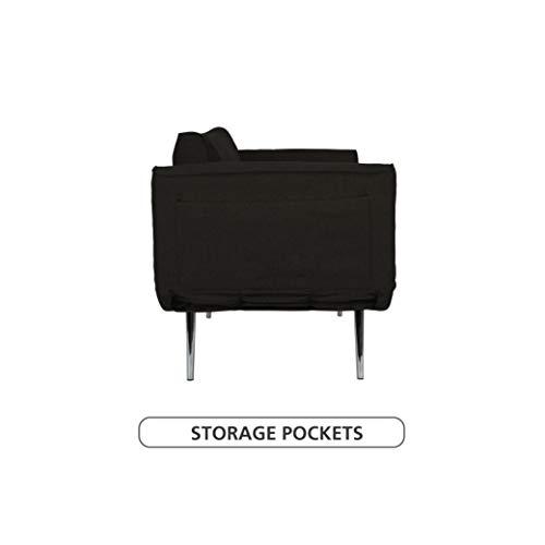 Novogratz Leyla Loveseat, Multifunctional and Modern Design Novogratz Leyla Loveseat, Multifunctional and Modern Design, Adjustable Armrests to Create a Couch Sleeper - Black.