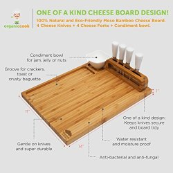 """Cheese Board Set, Cheese Tray, Charcuterie Board Cheese Board Set, Cheese Tray, Charcuterie Board: includes 4 Cheese Knives with White Ceramic Handles, 4 Stainless Steel Cheese Forks, Plus Ceramic Bowl, Large Size 14"""" x 11, Ideal Wedding Gifts."""