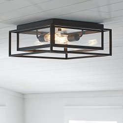 Stone & Beam Industrial Flush Mount Light With Bulbs