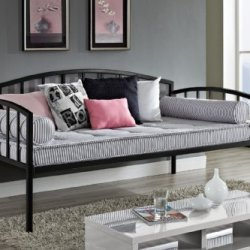 DHP Ava Metal Daybed Frame with Round Arm Design DHP Ava Metal Daybed Frame with Round Arm Design, Twin Size, Black.