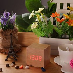 Color Bamboo with Red LED USB Desktop Table Clocks