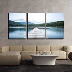 3 Piece Canvas Wall Art - Wooden Path to Lake