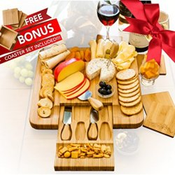 Bamboo Cheese Board Set With 4 x Cheese Knives Cutlery