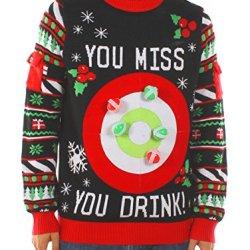 Tipsy Elves Men's Drinking Game Christmas Sweater: Large