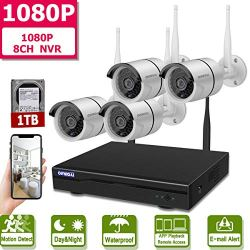 Wireless 8-Channel 1080P Security Camera System With 4pcs 1080P