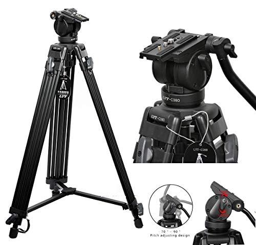 Professional Heavy Duty DV Video Camera Tripod Fluid-Pan Head Kit 72 IN 1800 MM