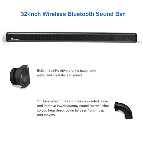 """2.1 Channel Sound Bar, Wohome TV Soundbar 2.1 Channel Surround Sound: accompany a 60w soundbar with a 60w wired subwoofer, produce encompass sound, let you appreciate a dynamic home sound understanding; incredible 120w, yield 95dB completely clear stable in your room Powerful Bass: accompany a 5.5inch wired subwoofer, bring rich, ground-breaking bass, let you appreciate the touchy experience from your motion picture, TV shows, music and gaming, likewise, the bass is adjustable Wired and Wireless sources of info: appreciate remote spilling music by means of the Bluetooth 4.2; wired association including AUX, Optical, and USB More Feature: remote and catches control; divider mount pack gave, you can mount it on the divider or spot it on the bureau; 32-inch soundbar, extraordinary for 40"""" or above TVs including LG, Samsung, Sony, Vizio, TCL, Roku, Toshiba and practically every one of the TVs in the market 100% Satisfaction Service: One year guarantee, 45 days unconditional promise, lifetime specialized help, it would be ideal if you don't hesitate to get in touch with us by means of Amazon message or allude to the client manual to discover our administration mail to contact us. 2.1 Channel Sound Bar, Wohome TV Soundbar with Subwoofers and Wireless Bluetooth(Surround Home Theater System,120W, 32 inch, 4 Speakers, 5.5"""" Subwoofer, 95dB, Remote Control, Model S18) 2.1 Channel Sound Bar, Wohome TV Soundbar with Subwoofers and Wireless Bluetooth(Surround Home Theater System,120W, 32 inch, 4 Speakers, 5.5"""" Subwoofer, 95dB, Remote Control, Model S18)."""