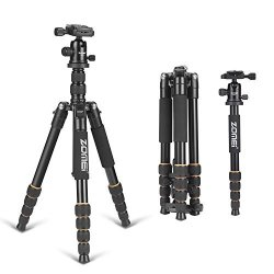 ZOMEI F678 Aluminum Portable Tripod with Ball Head Heavy Duty Lightweight