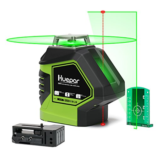 Huepar Self-Leveling Green Laser Level 360 Cross Line with 2 Plumb Dots