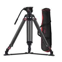 Heavy Duty Aluminum Fluid Head Camera Video Tripod for Camcorder/DSLR