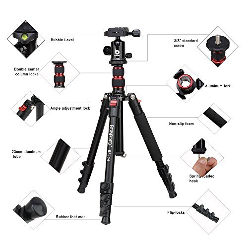 BONFOTO B690A Lightweight Aluminum Tripod Portable Travel
