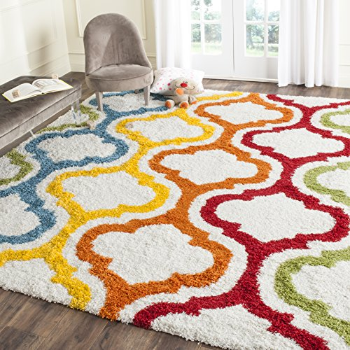 Safavieh Kids Shag Collection Ivory and Multi Area Rug