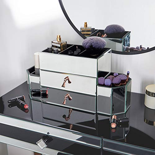 Beautify Large Mirrored Glass Jewelry Box and Cosmetic
