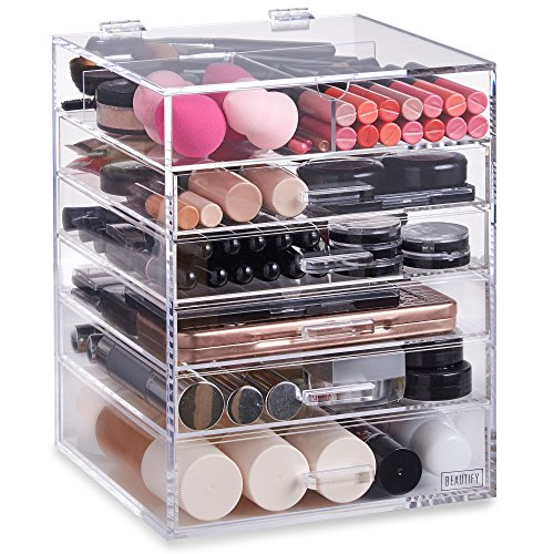 Beautify Large 6 Tier Clear Acrylic Cosmetic Makeup