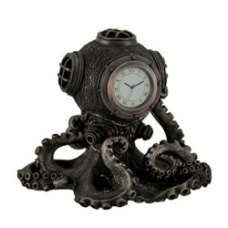 Resin Desk Clocks Bronze Finish Steampunk Octopus