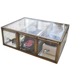 minopigo Antique Spacious Mirror Glass Drawers Set/Brass