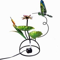 Continental Art Center Metal and Glass Hummingbird Fountain