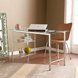 Southern Enterprises Oslo Chrome Desk with Glass Top