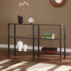 Southern Enterprises Metal-Glass 3-Tier Console Table in Black