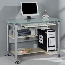 Rolling Computer Desk Glass and Silver