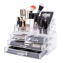 DreamGenius Makeup Organizer 2 Pieces Acrylic