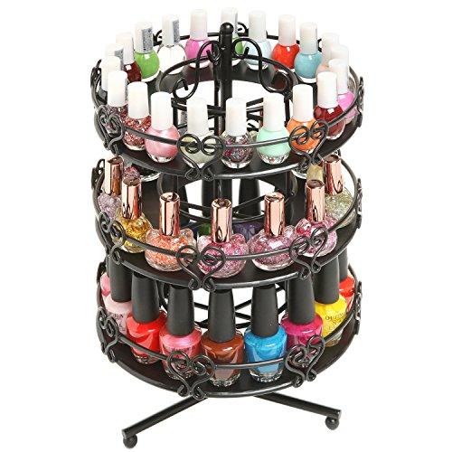 MyGift 3 Tier Salon Style Black Metal Spinning Carousel