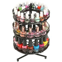 MyGift 3 Tier Salon Style Black Metal Spinning Carousel