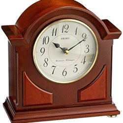 Seiko Mantel Chime Clock Brown Wooden Case