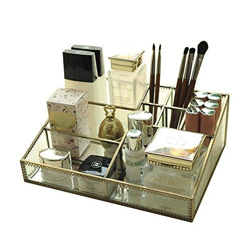 Hersoo Glass Makeup Organizer Cosmetic Storage