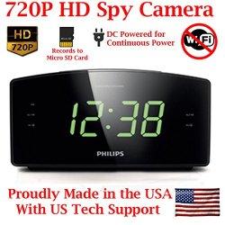 HD 720P Covert Alarm Clock Radio Spy Camera