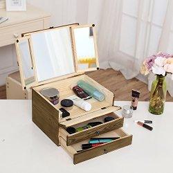 Brown Wood Jewelry Storage Cosmetics Organizer Boxr