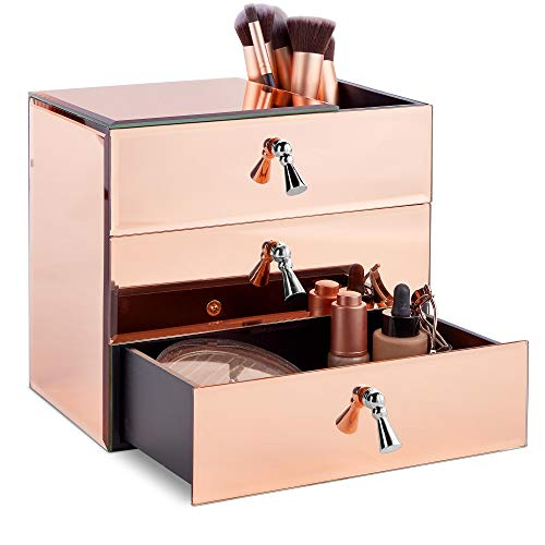 Beautify Large Mirrored Glass Rose Gold Cosmetic