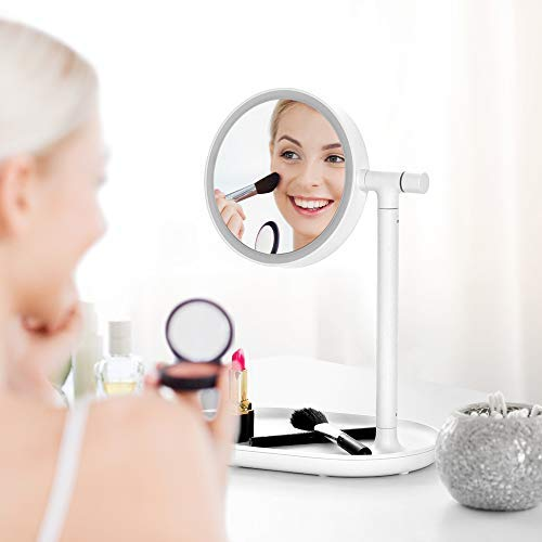 Lighted Makeup Mirror Mirror with Cosmetic Organizer Tray