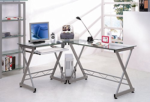 Tempered Glass L Shape Corner Desk With Pull Out